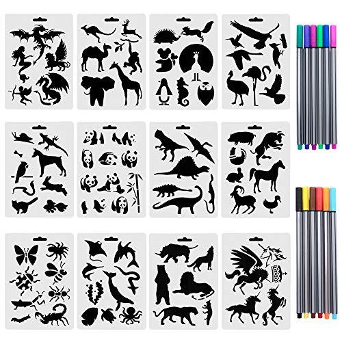 CCMART Set von 12 Tierschablonen mit 10 farbigen Fineliner-Stiften aus Kunststoff, Zeichnungs-Vorlagen mit Meerestieren, Wildtieren, über 80 verschiedene Tiermuster für Karten, Bastelprojekte
