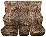 Totally Covers Compatible with 1994-2002 (2nd Gen) Dodge Ram Camo Truck Seat Covers (40/20/40 Split Front Bench & Solid Rear) w Center Console - Full Set: Wetland (16 Prints)