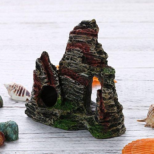 ODJOY-FAN Mountain View Aquarium Rockery Hiding Cave Tree Fish Tank Ornament Decoration Come Mostrato Acquario Resina Decorazione Non floccaggio Muschio Giardino roccioso Nascondere