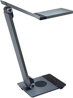FeinTech LTL00601 Lámpara de escritorio LED con función de carga (inalámbrica + USB), 10 W, Plata oscura