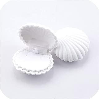 sunnyday-shop 1 Piece Lovely Shell Shape Velvet Jewelry Box Wedding Engagement Ring Box for Earrings Necklace Bracelet Display Gift Box Holder,White