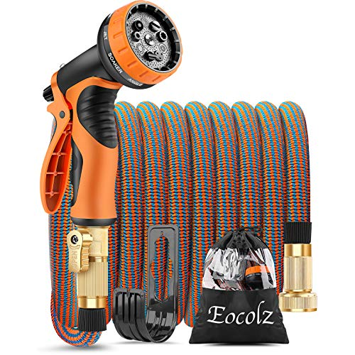 Eocolz Expandable Garden Hose 30ft Flexible Water Hose Leakproof with Durable No-Kink Solid Brass Fittings 3-Layers Latex Extra Strength Fabric Lightweight Expanding Hose Pipe for Watering Washing