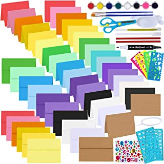 72 Sets 18 Colors A9 Invitation Envelopes Self Seal with Blank A9 Flat and Folded Note Cards Colored Paper Bulk DIY Card M...