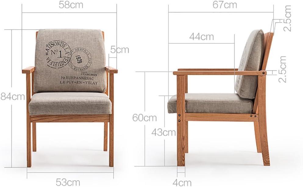 LI JING SHOP - Chaise à manger en bois massif Nordic en style américain Home restaurant Fauteuil pour accoudoir pour loisirs (Couleur : Gray print) # -001
