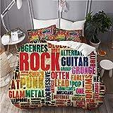 KIMDFACE Funda Edredón,Retro Rock and Roll Símbolo Letras Grunge Colores angustiados En Ese Entonces Sonido Tema de música,Ropa de Cama Funda Nórdica,1(140x200cm)+2(50x80cm)