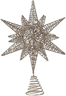 Creative Co-op Moravian Star Glitter Metal Holiday Tree Topper