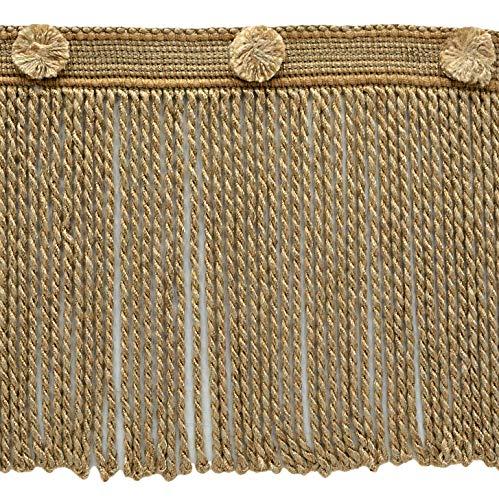 DecoPro Frange de 15 cm de long beige caramel, style # BFHR6, couleur : blanc Navajo – 81878, vendu au mètre (91 cm).