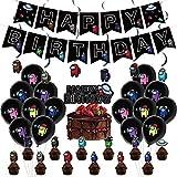 REYOKG Kit de Decoraciones de Cumpleaños de Among us, Globos de Látex de Werewolf Killing Game Cupcake Toppers Pancarta de Fiesta de Suministros de Fiesta Temáticos