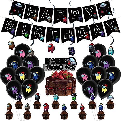 Among us Geburtstag Dekoration Set Werewolf Killing Game Theme Kindergeburtstagsfeier Dekoration Junge, Luftballon Happy Birthday Banner Kuchendeckel Cake Topper für Babyshower Kinder Baby Party