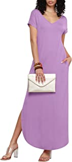 Made By Johnny MBJ Women's Summer Casual Loose Pocket Long Dress Short Sleeve Split Maxi Dresses