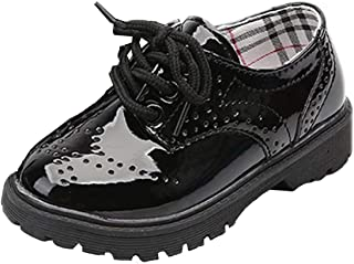WUIWUIYU Boys' Girls' British Style Lace-Up School Uniform Dress Oxfords Shoes(Toddler/Little Kid/Big Kid)
