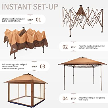 Suntime Outdoor Pop Up Gazebo Canopy with Mosquito Netting and Solar LED Light for Parties and Outdoor Activities