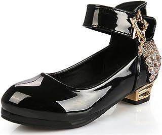 (ピピシダ)PPXID 子供靴 女の子 ドレスシューズ お花飾り 可愛い ガールズ フォーマル靴 ベロクロ式 脱ぎ履き簡単 結婚式 発表会 通学 ブラック ホワイト レッド (サイズ:16.5-22.5cm)