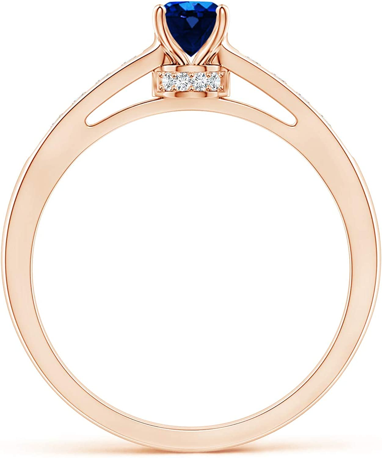 Details about  /Oval Sapphire Solitaire Ring with Channel Set Simulated Diamond in 9k Fine Gold