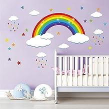 decalmile Regenboog Muurstickers Witte Wolken Kleurrijke Regendruppels en Sterren Muurtattoo Baby Kinderkamer Kinderen Sla...
