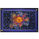 Jaipur Handloom Black Light Sleeping Sun Tapestry Wall Hanging Celestial Sun and Moon Tapestry Dorm Decor Hippie Bedding Bohemian Bedspread Bed Cover Beach Blanket Yoga mat Curtain