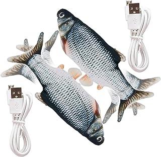 ZoneYan Elektrisk leksak fisk för kattungar, kattleksak fisk, 2 st Floppy fisk katt, simulerad fisk, elektrisk fisk för ka...
