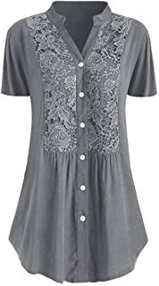 Women Summer Blouse and Tops, Ladies Plus Size Solid Short Sleeves V-Neck Shirt Tops