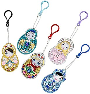 DIY 5D Diamond Painting Keychain Round Drill Keyring Crystal Rhinestone Pendant Mosaic Arts Paint by Number Kits Angel 4 Pack by WYQN