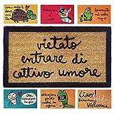 parpyon® Zerbino Ingresso casa Simpatico cm 40x70 Tappeto da Esterno Antiscivolo zerbino Ingresso Esterno tappeti Moderni in Fibra di Cocco (Umore)