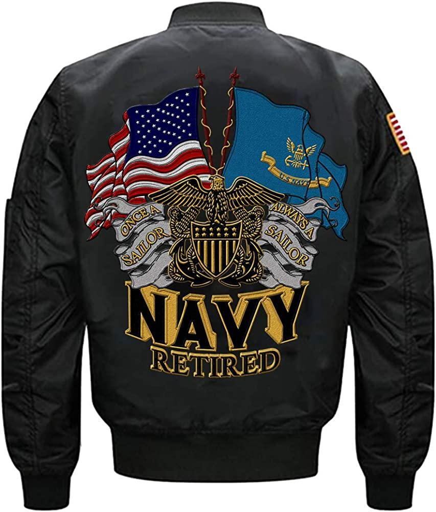 U.S Navy Retired One A Sailor Always A Sailor MA-1 Flight Embroidered Bomber Jacket