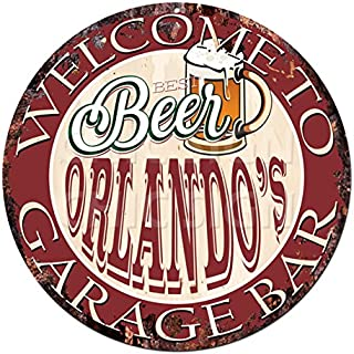 Welcome to Best Beer ORLANDO'S GARAGE BAR Chic Tin Sign Rustic Shabby Vintage style Retro Kitchen Bar Pub Coffee Shop man cave Decor Gift Ideas