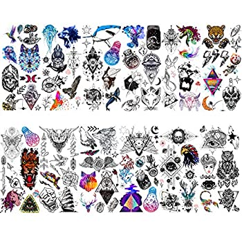 HOWAF 12 Sheets Temporary Tattoos for Women Men Kids Festival Tattoos Owl Bird Butterfly Animal Wolf Skull Feather Fake Waterproof Tattoo Stickers for Adults Boys Girls Body Art Arm Hand