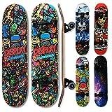 """Photo Gallery wellife - skateboard rgx tavola skate (31""""x8"""") 79x20cm in 9 strati di acero design concavo ruota pu 54 * 36 mm super smooth per bambino giovani adulti cuscinetto abec-7rs (dbl 460)"""