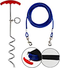 Upgraded Tie Out Cable and Dog Stake for Yard,Dog Leash Stake with Solid Dog Chain 20ft for Medium Large Dogs Up to 125 Pound,for Camping and Garden