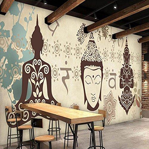 Wongxl Thailändische Themenorientierte Restauranthintergrundtapete Der Kundenspezifischen Antiken Buddha-Tapeten-Barwandwandmalerei 3D Tapete Hintergrundbild Fresko Wandmalerei Wallpaper Mural 200cmX150cm