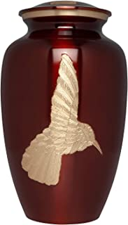 (Burgundy) - Liliane Memorials Burgundy Hummingbird Funeral Urn - Cremation Urn for Human Ashes - Hand Made in Brass - Suitable for Cemetery Burial or Niche - Large Size fits remains of Adults up to 90kg