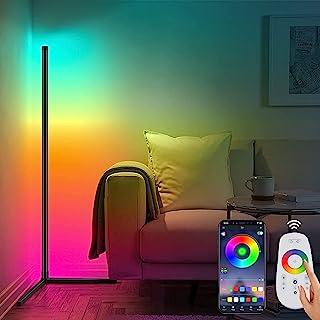 Lampadaire d'angle RVB, lampadaire LED à couleur changeante pour chambre à coucher, lampe d'angle à intensité variable ave...