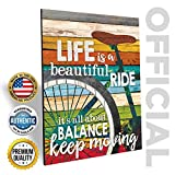 Marla Rae 'Life is A Beautiful Ride' Chic Bicycle Country Wall Art Plaque - Rustic Farmhouse Decor for Home - Famous Inspirational Bike Quotes - Gifts for Cyclists (12' x 16')