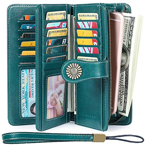Women's Wallets, Large Capacity with RFID Protection, Genuine Leather by SENDEFN, Peacock Blue