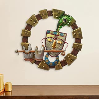 Happy Homes Krishna with Flute Metal Designer Wall Mounted & Hanging Art Decor for Living Room & Bedroom Space ( Dia- 19 I...