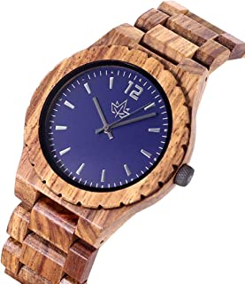 Wooden Watch for Men - Watch and Strap Made of Wood. Large Easy to Read Face. Japanese Quartz Movement. Casual and Sporty with Bonus Credit Card Holder in a Stylish Gift Box. by Wood Stadium