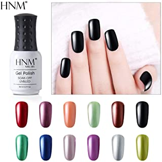HNM Soak Off UV LED 12PCS Metallic Gel Nail Polish Set Mirror Effect Metal Bright Elegant Colors Manicure 8ML