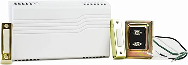 Newhouse Hardware Two Note Electric Door Bell Chime Kit w/Transformer & Surface Mount Lighted Push Button, 16V/10 VAC, White