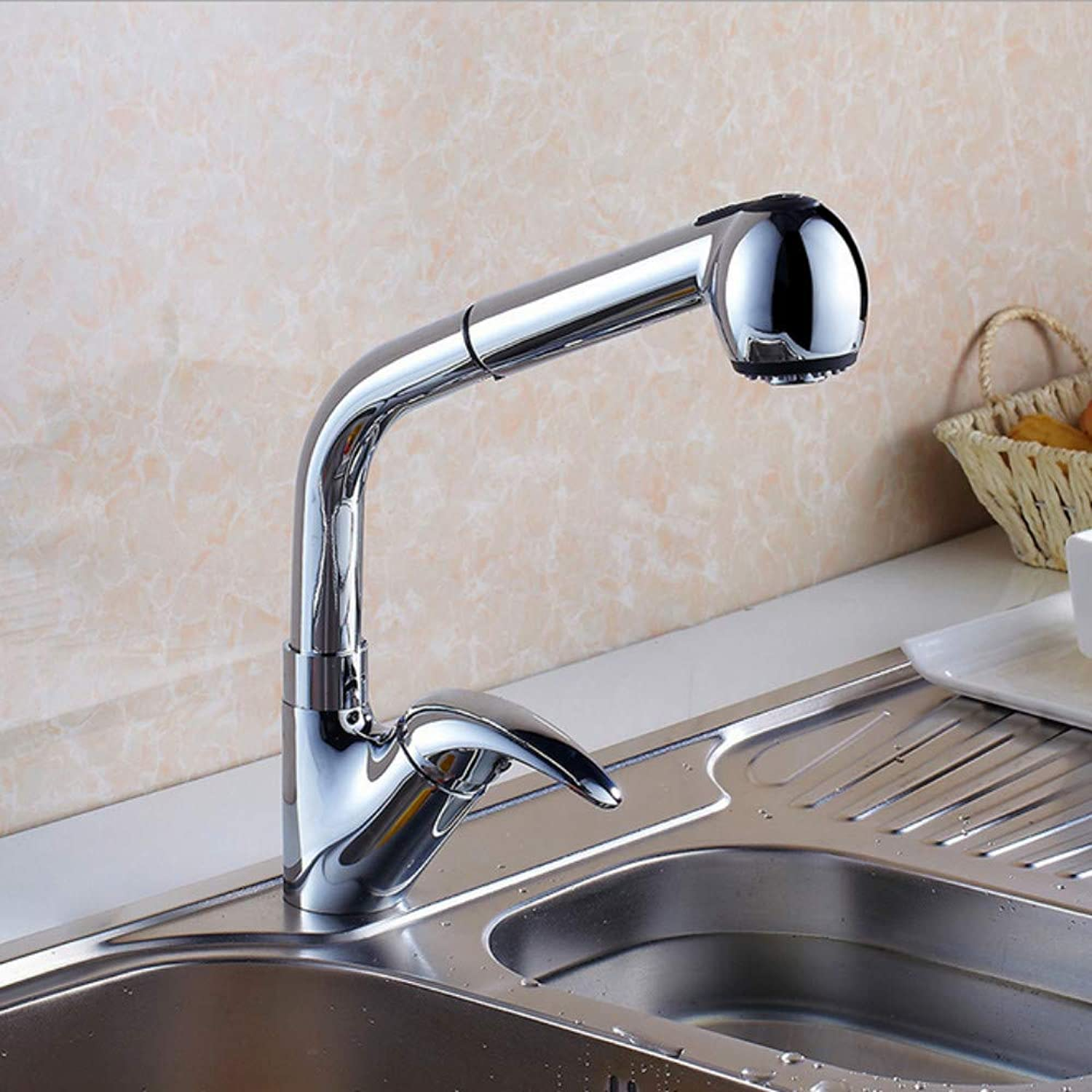 Xiujie Faucet Kitchen Pull-Out redatable Faucet Single Handle Single Hole Sink Sink Hot and Cold Faucet with Shower