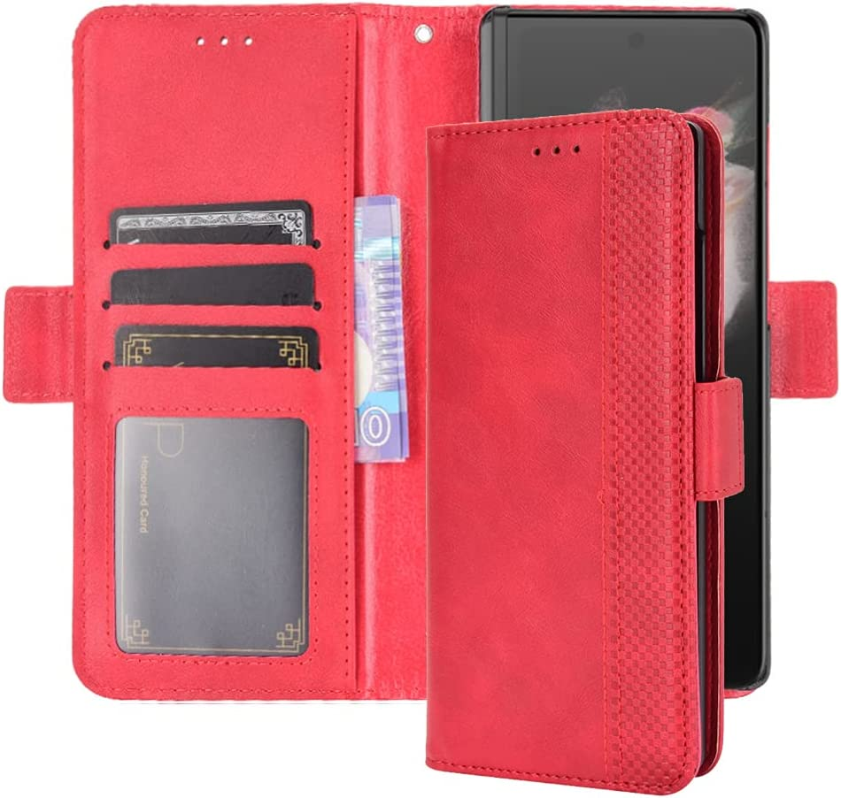 10 Cent Classic Leather Wallet Case for Samsung Galaxy Z Fold 3, Flip Wallet Case (Red)