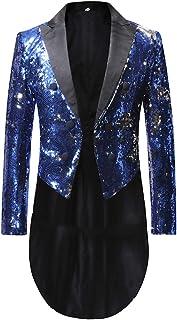 Allthemen Men's Shiny Tuxedo Steampunk Vintage Tailcoat Blazer Jacket Gothic Victorian Suit Coat Halloween Uniform Costume