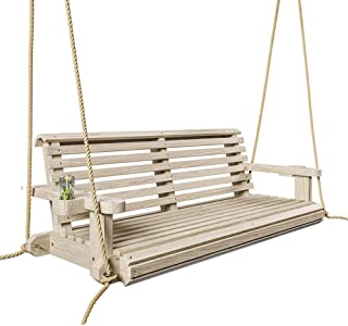 Porchgate Amish Heavy Duty 800 Lb Roll Comfort Treated Porch Swing W/Ropes (4 Foot, Unfinished)