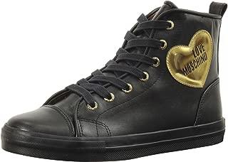 Women's Heart Logo Black Sneakers Shoes