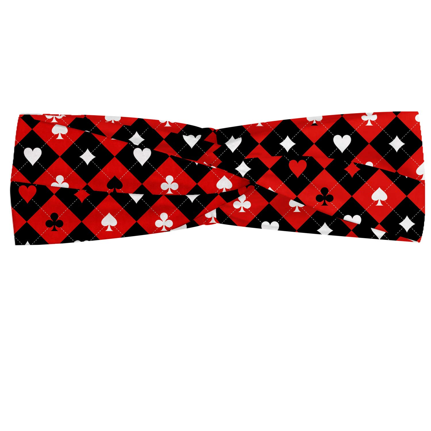 Lunarable Poker Tournament Headband, Card Suit Chess Board Classic Checkered Diamond Pattern Spade, Elastic and Soft Women's Bandana for Sports and Everyday Use, Red Black White