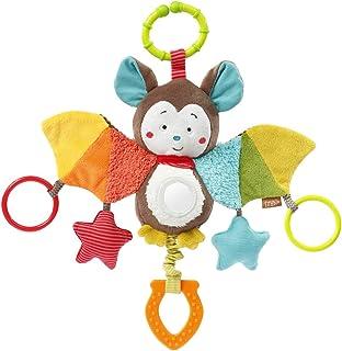 Fehn 067712 Activity-Spieltier Fledermaus – Motorikspielzeug zum Aufhängen mit Spiegel & Ringen zum Beißen, Greifen und Geräusche erzeugen – Für Babys und Kleinkinder ab 0 Monaten