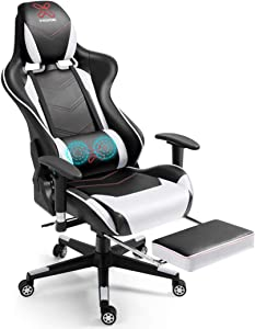 X-VOLSPORT Gaming Chair Office High Back Chair with Footrest, Racing Style PU Leather Ergonomic Computer Video Game Chair with Headrest and Lumbar Massage(White/Black)