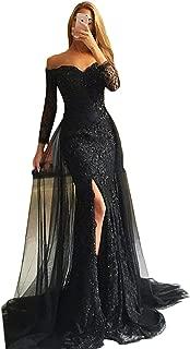 Prom Dresses Detachable Skirt 2019 Mermaid Evening Gown Off Shoulder Slit Lace Long Sleeve Formal Dress