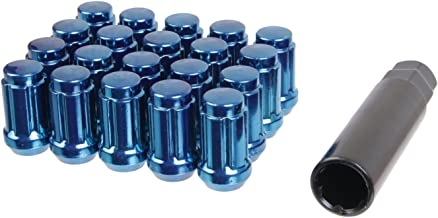 20pcs Blue Spline Drive Lug Nuts - 12x1.5 Thread Size - 1.4 inch Length - Closed End Cone Acorn Taper Seat - Includes 1 Socket Key Tool - Fits Acura Chevy Honda Lexus Mazda Scion Toyota Hyundai Tuner