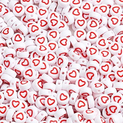 Cuentas de acrílico redondas con letras y letras planas y redondas, con forma de cubo digital para hacer joyas, hecho a mano, para hacer pulseras, collares, 4 x 7 mm, corazón rojo, 100 unidades