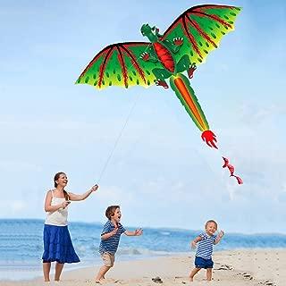 iuuhome🌹🌹 3D D-ragon K-ITE Kids Toy Fun Outdoor Flying Activity Game Children 3D Dragon 100M Kite Single Line with Tail Kites Outdoor Fun Toy Kite Family Outdoor Sports Toy Children Kids New